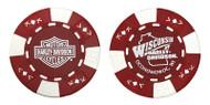 Harley-Davidson® Wisconsin Harley-Davidson® Poker Chip Red & White CHIP