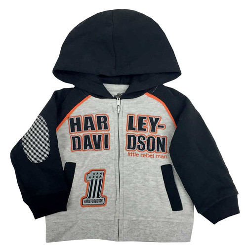 Harley-Davidson® Baby Boys' Embroidered Fleece Hooded Sweatshirt Gray 6551702
