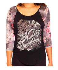 Harley-Davidson® Women's Butterfly Field Embellished Raglan 3/4 Sleeve Top, Black - C