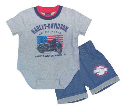 Harley-Davidson® Baby Boys' Creeper Newborn 2 Piece Short Set, Gray 2052615