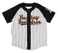Harley-Davidson® Little Boys' Striped Baseball Jersey, Black & White 1072637