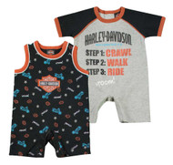 Harley-Davidson® Baby Boys' Jersey Infant 2-Pack Interlock Romper Set 3062619