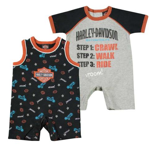 Harley-Davidson® Baby Boys' Jersey Infant 2-Pack Interlock Romper Set 3062619
