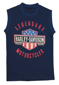 Harley-Davidson® Little Boys' Jersey Sleeveless Muscle Tee, Navy Blue 1082659