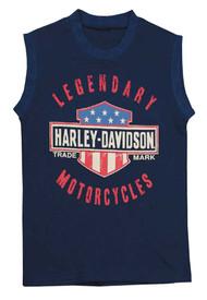 Harley-Davidson® Big Boys' Jersey Sleeveless Muscle Tee, Navy Blue 1092659