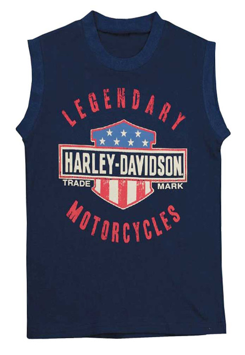 Harley-Davidson® Big Boys' Jersey Sleeveless Muscle Tee, Navy Blue 1092659