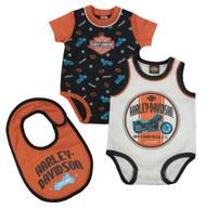 Harley-Davidson® Baby Boys' Interlock Newborn 2-Pack Creeper & Bib Set, 3052621