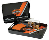 Harley-Davidson® Bar & Shield Serving Tray Set, 2 Different Sizes Black HDL-18563