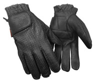 Redline Men's Gel Padded Full-Finger Motorcycle Leather Gloves, Black G-055PR - C