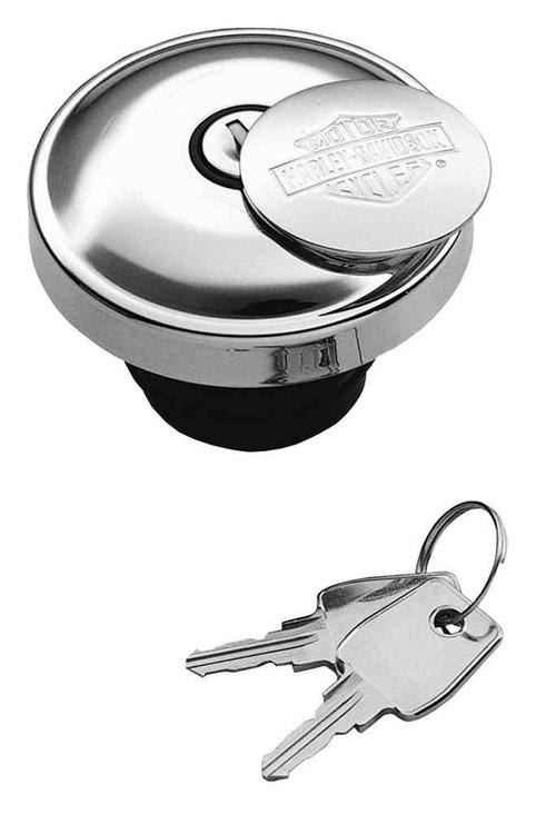 Harley-Davidson® Bar & Shield Logo Self-Locking Fuel Cap, Chrome Finish 62803-97A