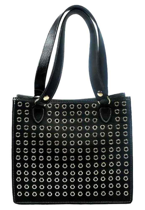 Genuine Leather Women's Eyelets Grommet Tote Genuine Leather Purse, Black GR27