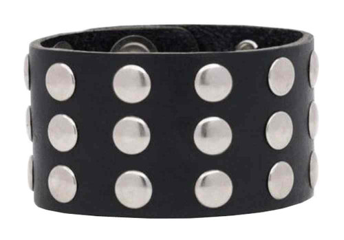 Genuine Leather Men's Three Row Rivet Wristband, 9.5 x 1.5 in Black Leather RW-1