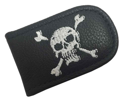 Genuine Leather Men's Embroidered Skull & Crossbones Leather Money Clip EC05-56W