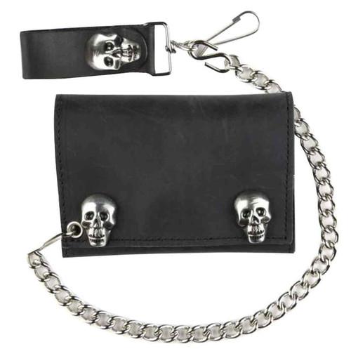 Genuine Leather Men's Metal Skull Snaps Tri-Fold Biker Chain Wallet, Black SK328