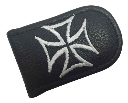 Genuine Leather Men's Embroidered Iron Cross Leather Money Clip, Black EC05-137