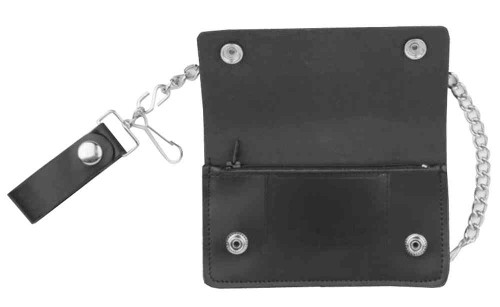 Genuine Leather Men's 7 in Eagle Oil Tanned Biker Chain Wallet, Black BW829-40