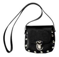 Genuine Leather Little Girls' Little Shoulder Bag Purse, Black Leather P32