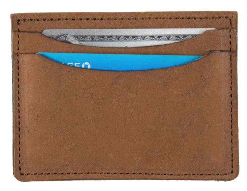 Genuine Leather Men's Double Sided Card Case Wallet, Brown Biker Leather PU955