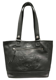 Genuine Leather Women's Embossed Winged Skull Soft Leather Tote Bag, Black SK681