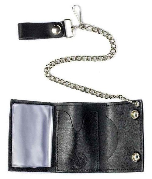 Genuine Leather Men's Skull & Crossbones Tri-Fold Chain Wallet, Black TC304-6