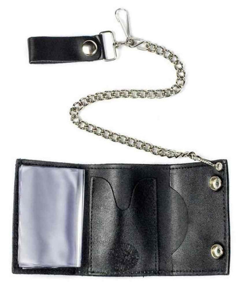 Biker Men's Multi Peace Signs Tri-Fold Chain Wallet, Genuine Leather TC304-220