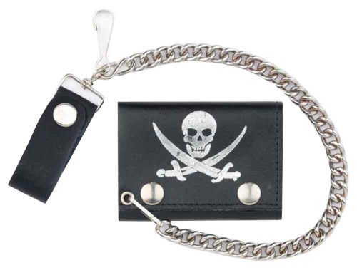 Genuine Leather Men's Pirate Skull Tri-Fold Biker Chain Wallet, Black TC304-70s