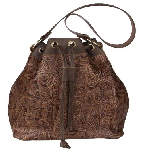 Genuine Leather Women's  Draw String Bag, Embossed Floral Design, Brown CF680