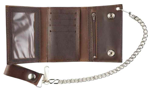 Genuine Leather Men's Eagle Head Antique Tri-Fold Biker Chain Wallet AT322-32