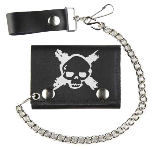 Biker Men's X-Skull Tri-Fold Motorcycle Chain Wallet, Genuine Leather TC304-201