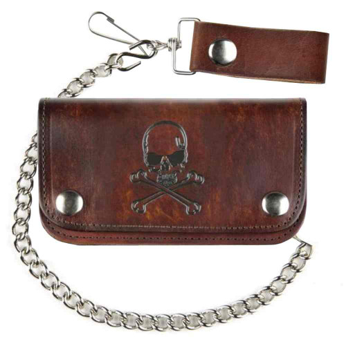 Biker Men's 6 in Skull & Crossbones Antique Motorcycle Chain Wallet AB412-6