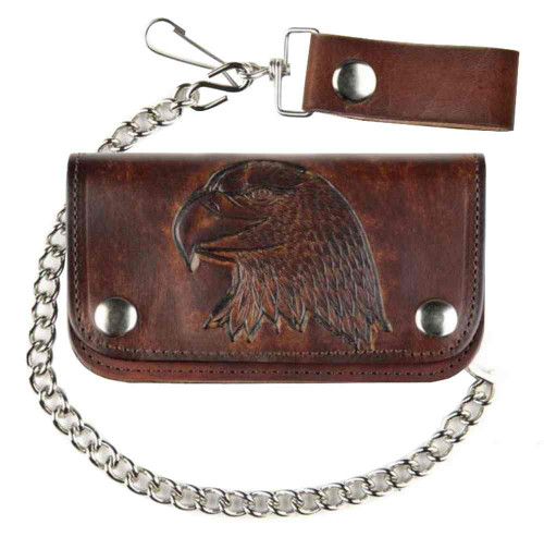 Biker Men's 6 in Embossed Eagle Head Antique Motorcycle Chain Wallet AB412-40