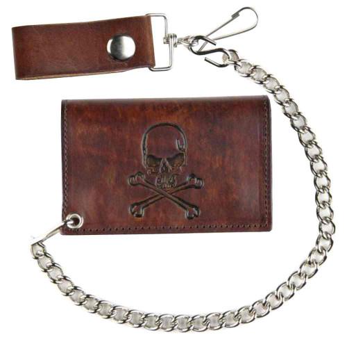 Biker Inspired Men's Skull & Crossbones Antique Tri-Fold Chain Wallet AT322-6