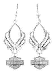 Harley-Davidson® Women's Bling B&S Pierced Wings Drop Earrings, Silver HDE0413