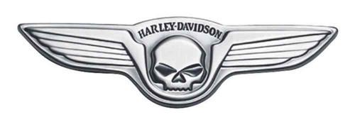 Harley-Davidson® Antique Nickel Winged Skull Medallion, 5 x 1.5 inch 91732-02