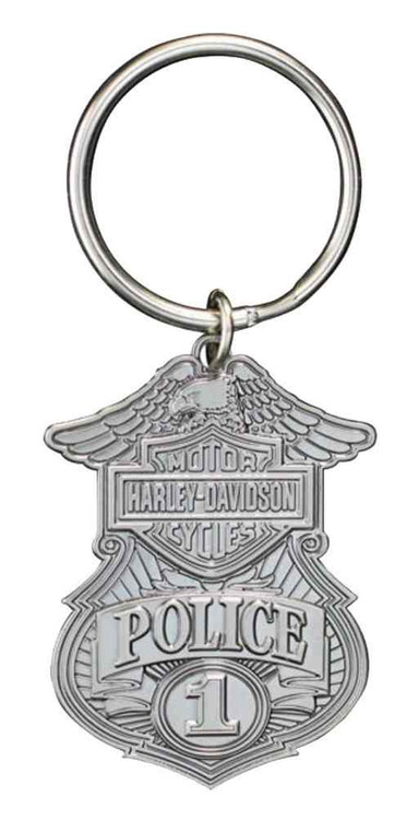 Harley-Davidson® Police Original 3D Die Cast Key Chain, Antique Nickel KY126306