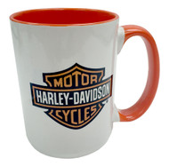Harley-Davidson® Bar & Shield Logo Coffee Mug, 15 oz White w/ Orange HD-BSS-1772O