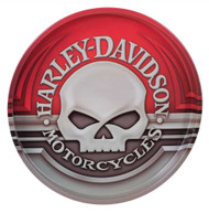 Harley-Davidson® Willie G Skull Tin Serving Tray, 12 Inch, Vibrant Red HDL-18561