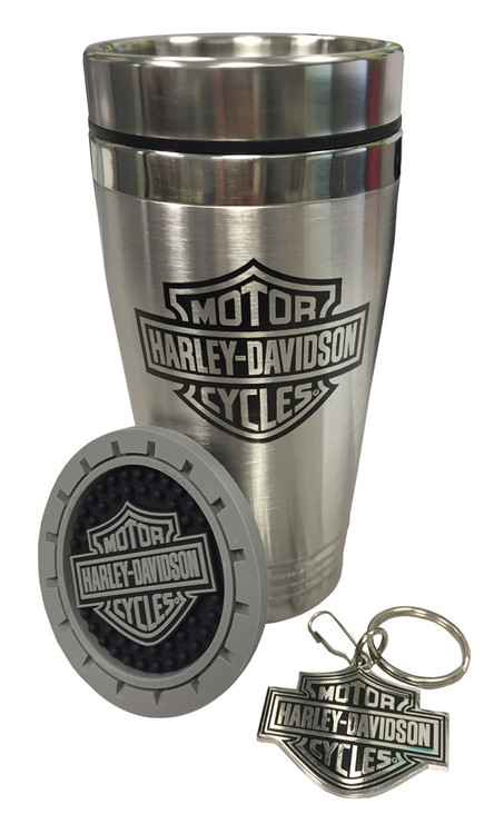 Harley-Davidson® Bar & Shield Auto Travel Set, Travel Mug, Key Chain & Coaster