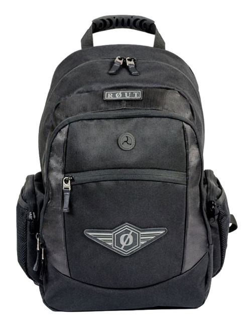 ROUT Adventurer Classic Backpack, Durable & Tough Nylon, Solid Black RBP9123