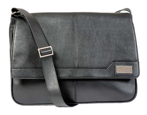 ROUT Competitor Leather Messenger Bag, Padded Laptop Sleeve, Black RBN25440
