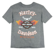 Harley-Davidson® Little Boys' Flames & Shield Short Sleeve Tee, Gray 1580665