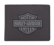 Harley-Davidson® Men's Embroidered B&S Leather Billfold Wallet XML8743-GRYBLK