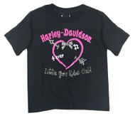 Harley-Davidson® Little Girls' Glittery Little Rebel Short Sleeve Tee 0124138