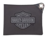 Harley-Davidson® Men's Embroidered B&S Short Trucker Biker Wallet XML8731-GRYBLK