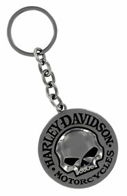 Harley-Davidson® Willie G Skull Logo Emblem Round Key Chain, Black HDKD239  - Wisconsin Harley-Davidson