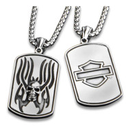 Harley-Davidson® Flaming Skull Heavy-Duty Premium Chain Dog Tag, Chrome 8005016