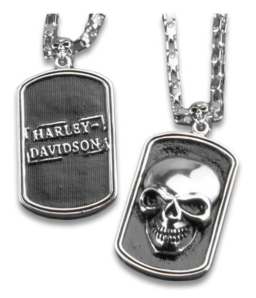 Harley-Davidson® 3D Skull Heavy-Duty Premium Chain Dog Tag, Chrome 8005009