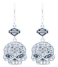 Harley-Davidson® Women's Marcasite & Black CZ Bling Skull Drop Earrings HDE0417