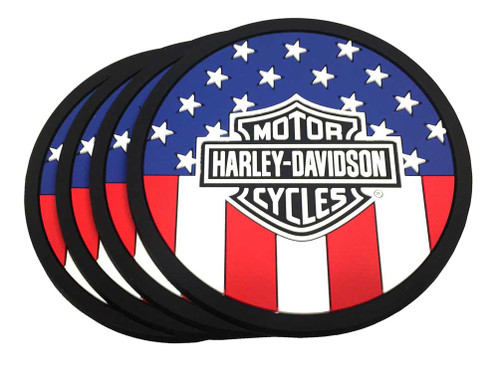 Harley-Davidson® American Flag Bar & Shield PVC Coaster Set, Set of 4, 210041