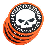 Harley-Davidson® Willie G Skull Logo PVC Rubber Coaster Set, Set of 4, 210039